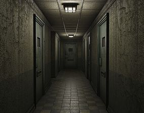 3D model Low Poly Insane Asylum Corridor With PBR