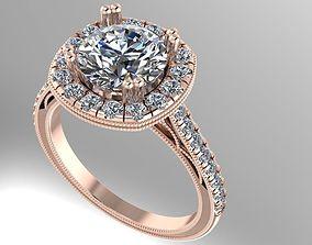 Halo engagement ring 3D print model
