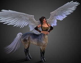 Female Centaur Winged Unicorn 3D rigged