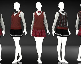 Marvelous Designer Clothes - 14 Sweater Uniform 3D