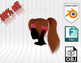 3D model Realistic Girl Hair
