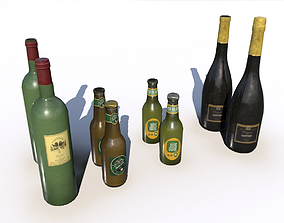 Beer juice wine and champagne bottles 3D model