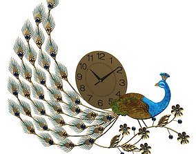 3D model peacock clock clockwatcher