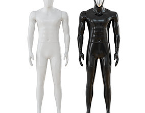 White and black male mannequins 55 3D model