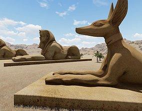 Egyptian statues 3D Model sculpture