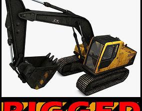 machine 3D Excavator Rigged