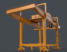 3D model PBR Rail Mounted Gantry Crane RMG V1 - Yellow