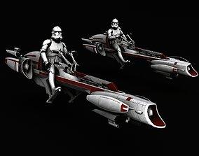 3D model Star Wars BARC Speeder clone