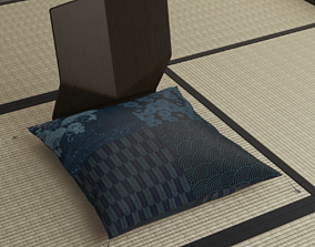 3D model Japanese sitting cushion and seat chair