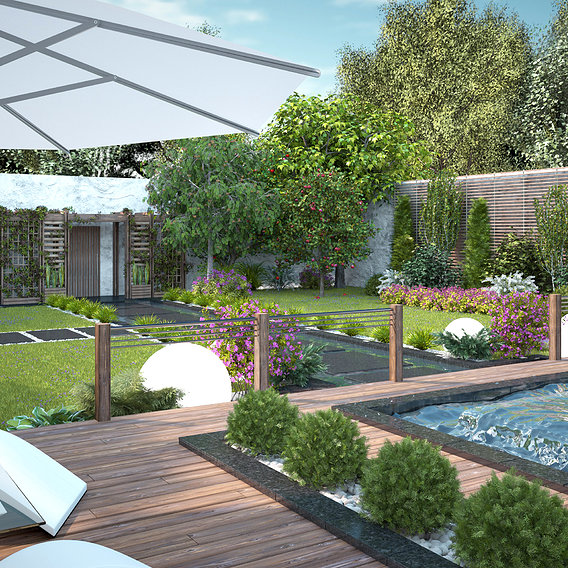 Small garden in a modern style