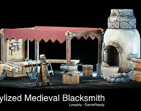 Medieval Blacksmith - 15 Stylized Props 3D asset