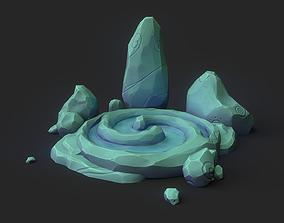 Stylized Spiral Stone Pool 3D asset