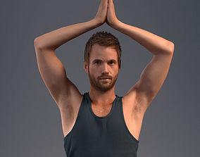 Pre posed male 3D model in a sport attire doing yoga