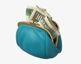 Female purse with banknotes 3D model