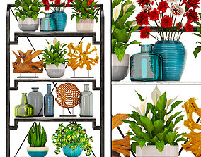 Rack with the decor of figurines and plants 3D model