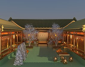 3D model Chinese ancient courtyard house chinese