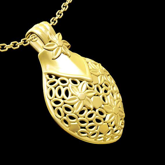 Flower Large Pendant jewelry Gold 3D print model