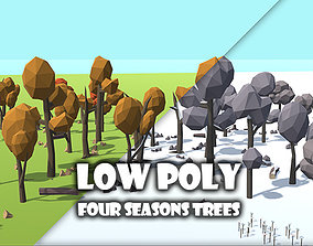 3D asset Low Poly Four Seasons Trees