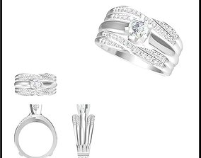 Wedding band rings for women jewelcad 3D print model