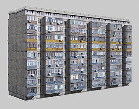 3D asset Plattenbau buildings pack