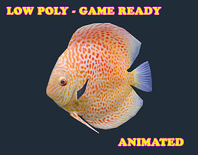 Low poly Discus Fish Animated - Game 3D model