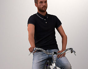 Pre-posed 3D man on a bike with realistic hair