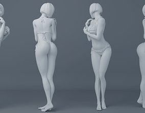 Short hair student girl wearing bikini 3D printable model