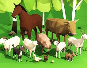 3D asset Domestic animals rigged pack
