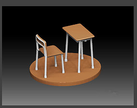 3D print model SCHOOL CLASSROOM DESK CHAIR SET FOR 2
