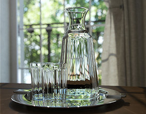 3D decanter and glasses and tray