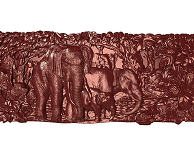 Elephants family Bas relief for CNC 3D printable model