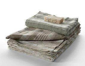 Linen Linum Bath Towel and Soap 3D model