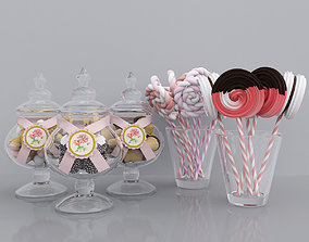 Candy jars and meringues 3D model