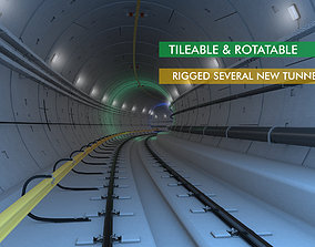 Railway and Subway Tunnel Rigged 3D model