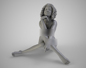 Young Girl Dreaming 3D printable model lying