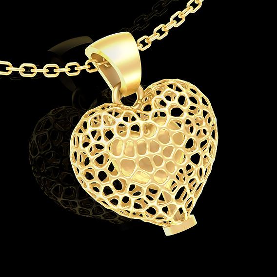 Voronoi Heart Pendant jewelry Gold 3D print model