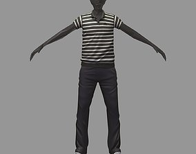 avatar casual set black line polo grey pants 3D asset