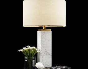 Square Column Marble Table lamp 3D model