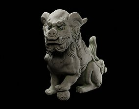 Japanese Komainu or lion-dog statue intended for 3D