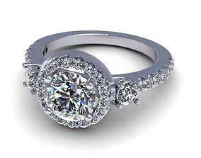 3D printable model Three-Stone Halo Engagement Ring