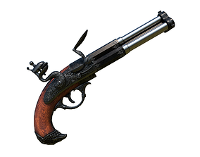 Flintlock 3-muzzle pistol 3D asset game-ready