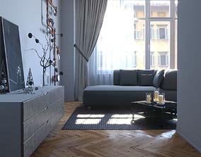 3D model game-ready Living room cinema4d