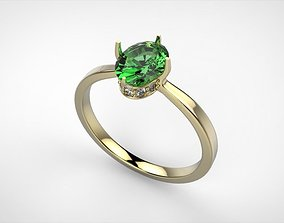3D print model Oval stone engagement ring
