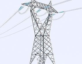 3D model High voltage power line - reverse delta tower