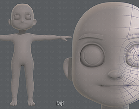 Base mesh boy character V08 3D model