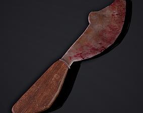 3D model Curved Knife and Hilt 3