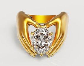 Oval Hand Ring 3D print model diamond