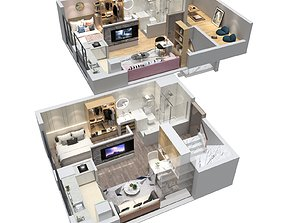 Duplex apartment floorplan Home 3D
