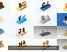 A to Z Letters with statue and words for kids 3D model