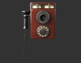 3D asset Wooden Vintage Antique Phone